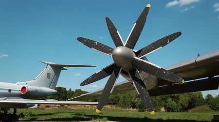 alaplap : Wing of old TU-142 VPMK Bear-F Mod 4 Long-Range ASW propeller-driven aircraft in aviation museum in Kiev, Ukraine, located near Zhulyany airport. Soviet aviation industry civil and military airplanes