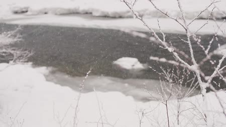 Drops thick snow against the background of a mountain river. Slow motion Stok Video