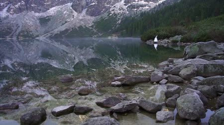 Couple hold hands. Marine eye. Carpathians Tatras Poland. Morskie Oko 動画素材