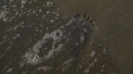 The water is washed away by a person in the sand. slow motion. Stok Video