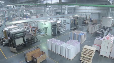 fotokopi makinesi : Production Line in a Packaging Factory Stok Video