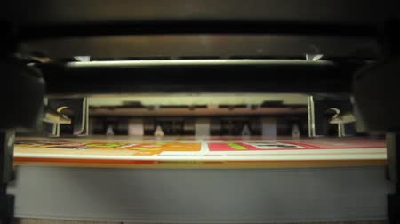 clerical : pan on print press typography machine in work Stock Footage