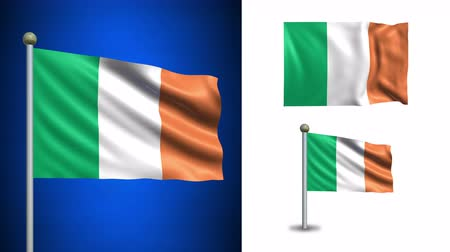 irlandia : Ireland flag - 4k resolution with Alpha channel, seamless loop! Wideo