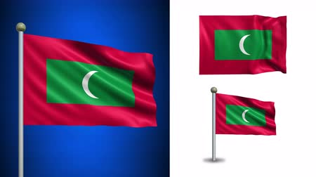 Мальдивы : Maldives flag - 4k resolution with Alpha channel, seamless loop!