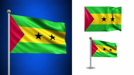 tome : Sao Tome and Principe flag - 4k resolution with Alpha channel, seamless loop! Stock Footage