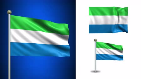 sierra leone flag : Sierra Leone flag - 4k resolution with Alpha channel, seamless loop! Stock Footage