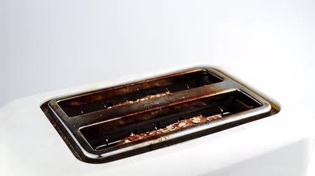 lét : Slow motion time lapse of multi-grain whole wheat bread being toasted and popping out of toaster