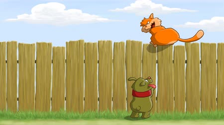 mamífero : On the fence cat teasing dog, animated cartoon