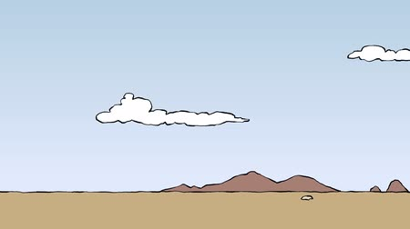 pictured : Panorama cartoon desert, loop, animation HD Stock Footage