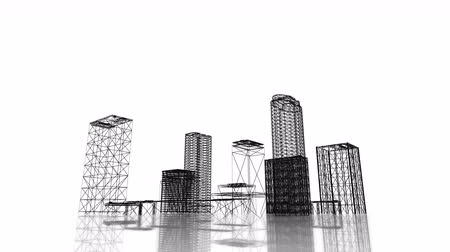 architektura : Video 3840x2160 UHD - Blueprint of the business district of the city with skyscrapers and apartment buildings rising out of the ground on white background Wideo