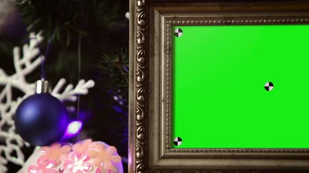 çerçeveler : Elegant Photo Frames on Christmas Tree Stok Video