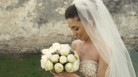 weddings : Wedding Bride with Bouquet Stock Footage