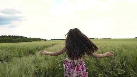 on nature : Little Girl Running Across Wheat Field