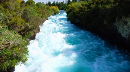 Seamless video of Huka Falls in the daytime, Taupo, New Zealand. 4K Video.