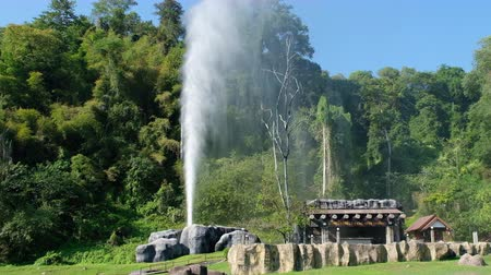 2019 November 18, Fang Hot Spring, Chiangmai, Thailand. A geyser erupts from underground. Stock mozgókép