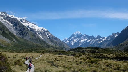 hooker : People are walking on the boardwalk to the mountain. A Scene in Mount Cook National Park, Hooker Valley Track, South Island, New Zealand. 4K Video. Stock Footage
