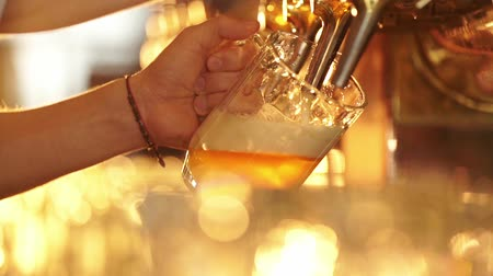 beer tap : Man pours beer in a pub
