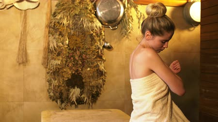 masaj : Relaxing girl in spa salon Stok Video