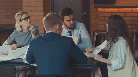 Young business at the meeting Stock Footage