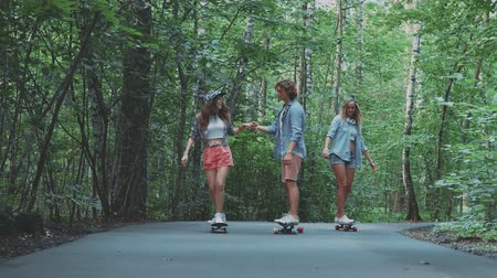 longboard : Young skaters in the summer park