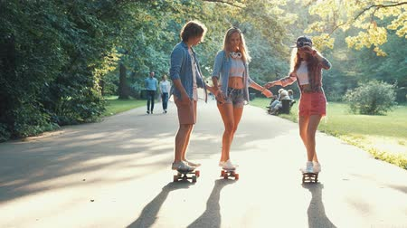 longboard : Happy people in the park Stock Footage