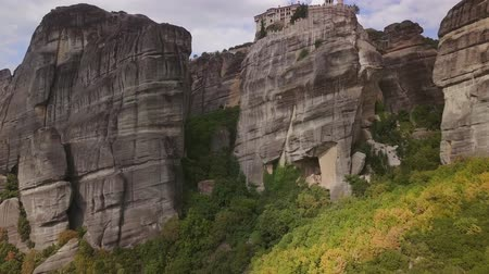 meteora : Greek Meteora view from the drone Stock Footage