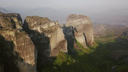 meteora : View of the Greek Meteora from above Stock Footage
