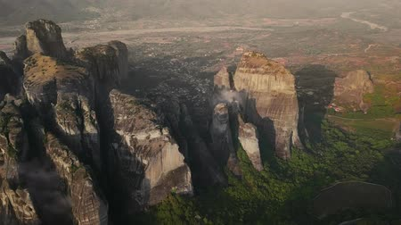 meteora : Greek Meteors in sunny weather view from above Stock Footage