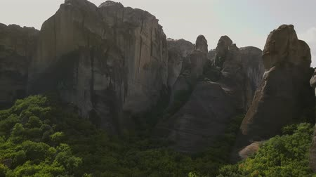 meteora : Panorama of the Greek mountains from the air Stock Footage
