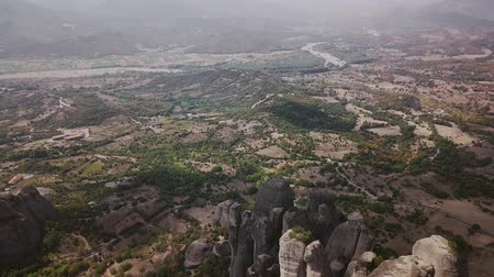 meteora : Greek city in the highlands from above Stock Footage