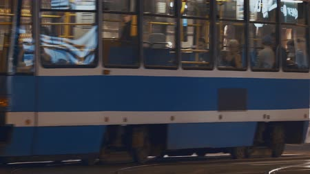 wrocław : Tram moving to Wroclaw in the evening