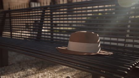 benches : Female hand takes a hat from the bench Stock Footage