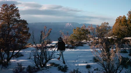 camping : Gelukkig reiziger in de Grand Canyon in de winter Stockvideo