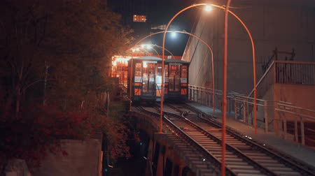 funicular : Famous funicular in Los Angeles at night Stock Footage