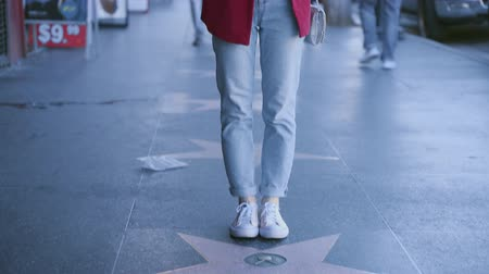 un : Young tourist makes a photo of the Hollywood Walk of Fame Stok Video
