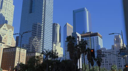 viagens de negócios : Skyscrapers in Downtown area in Los Angeles Stock Footage