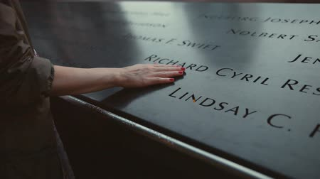 eleven people : Memorial 911 with the names of the dead in New York City Stock Footage