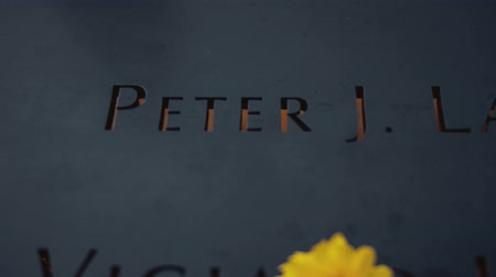 smutek : Yellow flower at a granite monument in New York