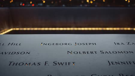 запомнить : 911 Memorial in New York City close-up Стоковые видеозаписи