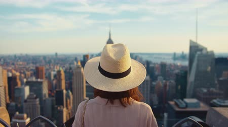 Young girl looking at the view of New York Stock Footage