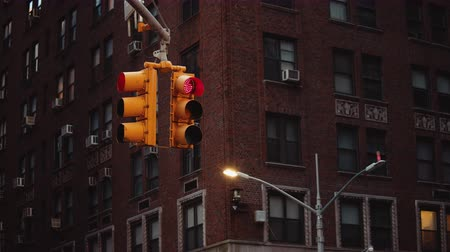 Traffic light in the evening, NYC Stock Footage