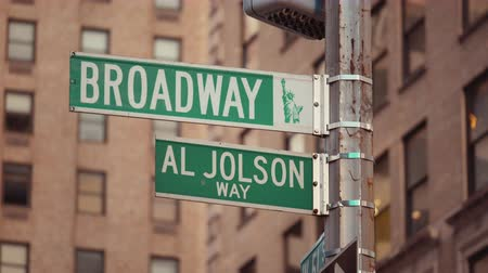Бродвей : Urban street signs on the road in New York