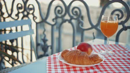 Morning breakfast on the balcony, close-up Stock Footage