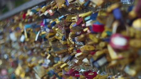 Many locks on the bridge in Paris, France