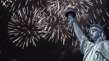 четверть : Seamless loop - Statue of liberty, night sky with fireworks, HD video Стоковые видеозаписи