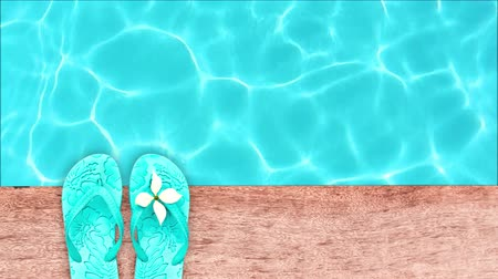 video loop : Seamless loop - Sandals by a swimming pool, summer concept, HD video