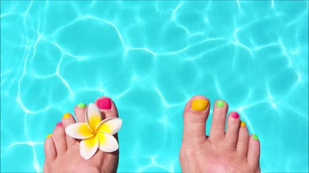 pływanie : Seamless loop - Woman bare feet with frangipani flower, turquoise water in the background, HD video