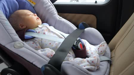 restraining : Baby child fastened security belt safety car seat