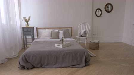 canteiro de flores : Interior of white and gray cozy bedroom
