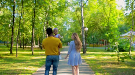 caráter : Happy family walking in the summer Park. Go away from the camera Stock Footage